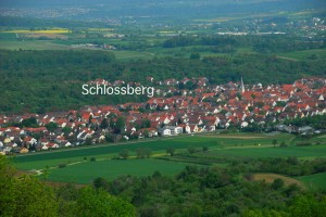 A view of Dettingen from the &quot;Teck,&quot; a high hill to the east. The location of the ancestral area &quot;Schlossberg&quot; is indicated