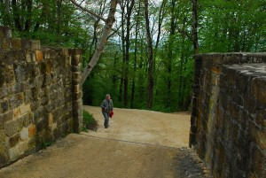 Margie Weiler makes her way to the castle ruins