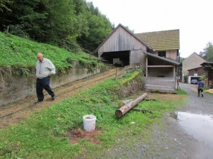 Ken Temple walks out of the sawmill 'Boxmühle' on the edge of Wartenfels. There is a possible ancestral connection to this old mill.