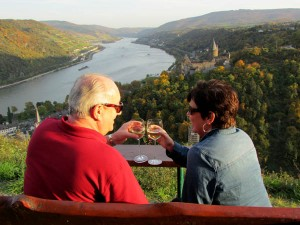 Having a glass of Riesling above the village of Bacharach