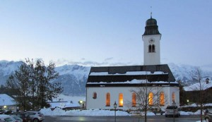 The church of Lans, Austria across from our lodge. This was taken the evening after the big snow.