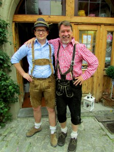 Toru guide and owner of European Focus (right) puts on his lederhosen only once per year, at Oktoberfest time. Here he is with his friend Markus Brenner, owner of our favorite restaurant in Rothenburg ob der Tauber.