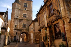 The quiet little hilltop town of Avallon