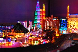 Las Vegas at Miniatur Wunderland, Hamburg. The lights are shining brightly now, but may dim when one sees the huge press of people who crowd the claustrophobic space.