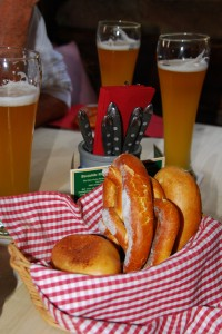 We took a break from the dark side of Nürnberg with a lunch break at the Guldenen Stern, one of the oldest sausage kitchens in Germany. Lindsey did her best to try and like the beer. The other three sure didn't mind it!