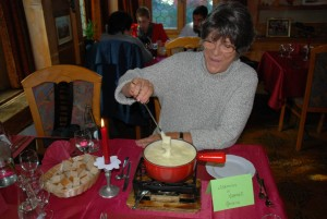 "Marianne had her dream fulfilled in the fall of 2014 when she visited the alpine village of Appenzell, Switzerland. James knew that she wanted fondue for lunch, so he arranged it, even though it was not really fondue ""season"" yet in Switzerland. It was a life highlight for Marianne."
