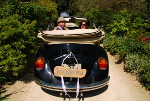 Steve and Debbie's renewal of vows day came on their 20th anniversary. Time to go for a ride in a 1972 Beetle through the Tuscan hills!