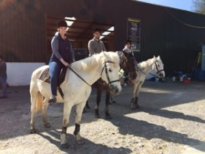 Members of our first tour of the 2015 season prepare to go horseback riding near Kenmare, County Kerry