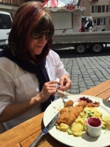 Schnitzel in the town square on her first evening, yum!