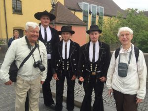 "Within an hour or so after landing Art and Carol were meeting authentic German ""Zimmerleute"" on their way around Europe on their two-year trek. This is an ancient tradition and special to see!"