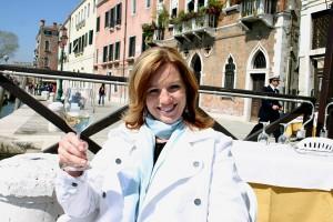 Jenean Derheim samples wine in Venice Italy
