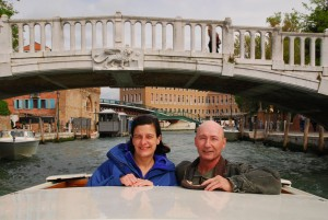 Steve and Debbie from Chicago arrive in Venice in style on a private water taxi at the start of their spring, 2014 tour of Italy.