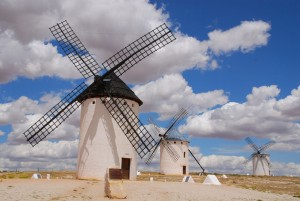Windmills in La Mancha, Spain.