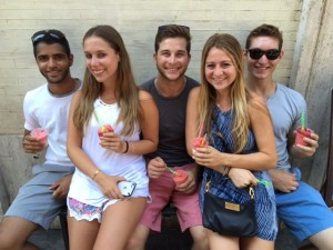 """Five young adults from the east coast of Florida enjoyed a 20-day trip with James in 2015. This """"Grand Tour"""" was in celebration of their graduation and impending journey on to university. Here's the group in San Gimignano enjoying gelato. Among the cities visited were Amsterdam, Berlin, Prague, Munich, Rome."""
