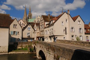 The historic small city of Chartres, France