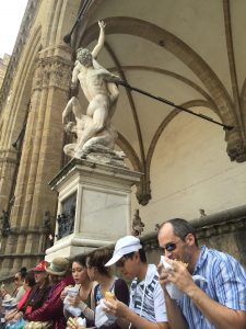 Majestic Florence, also very, very crowded. We got away from the packed restaurant scene by getting porchetta sandwiches to go and enjoying them with a view on the Piazza Signorella in the heart of the Birthplace of the Renaissance